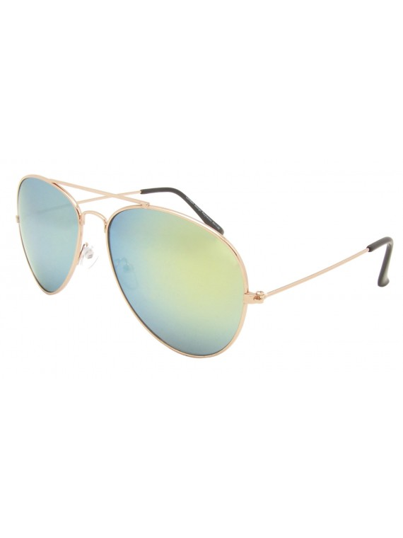 Hola Colored Mirrored Lens Aviator Sunglasses, Bigger Size Asst