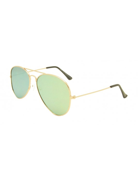 Caleb Flat Lens Aviator Sunglasses, Color Mirrored Lens Asst