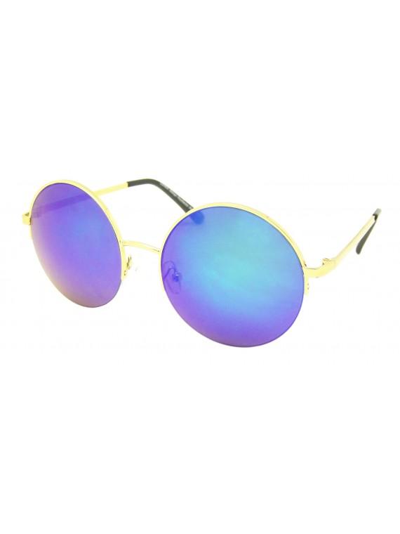 Aynna Half Rim Round Mirrored Lens Sunglasses, Asst