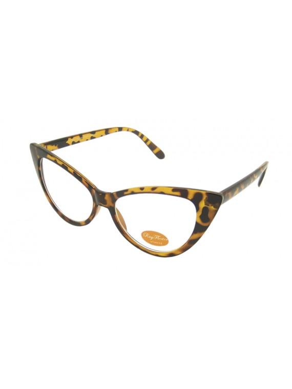 Evie Cat Eye Style Clear Lens Sunglasses, 2 Colors Asst