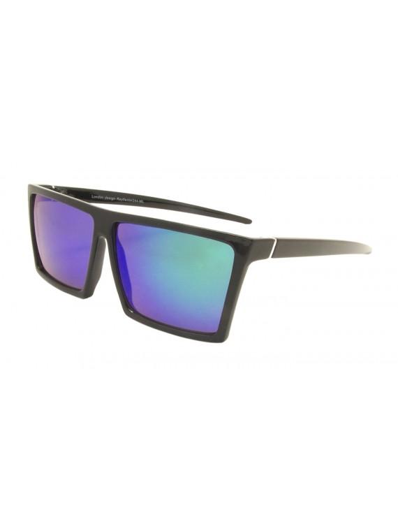 Defo Sqaure Flat Top Sunglasses, 5 Colors Mirrored Lens Asst