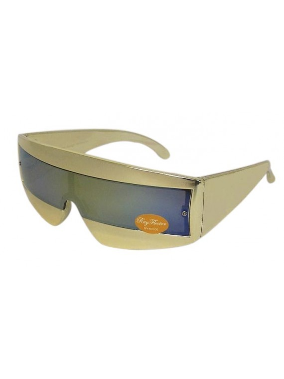 Robo Cop Wrap Around Sunglasses, Gold And Silver Colors Asst
