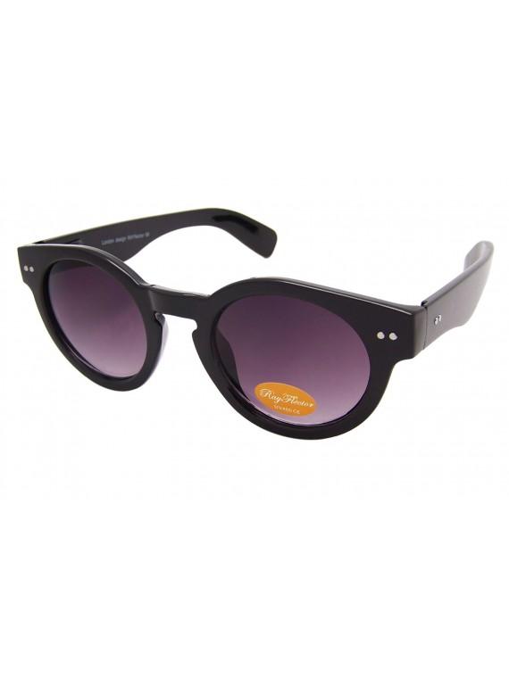 Round Spring Hinge Vintage Remade Sunglasses, Shiny Black