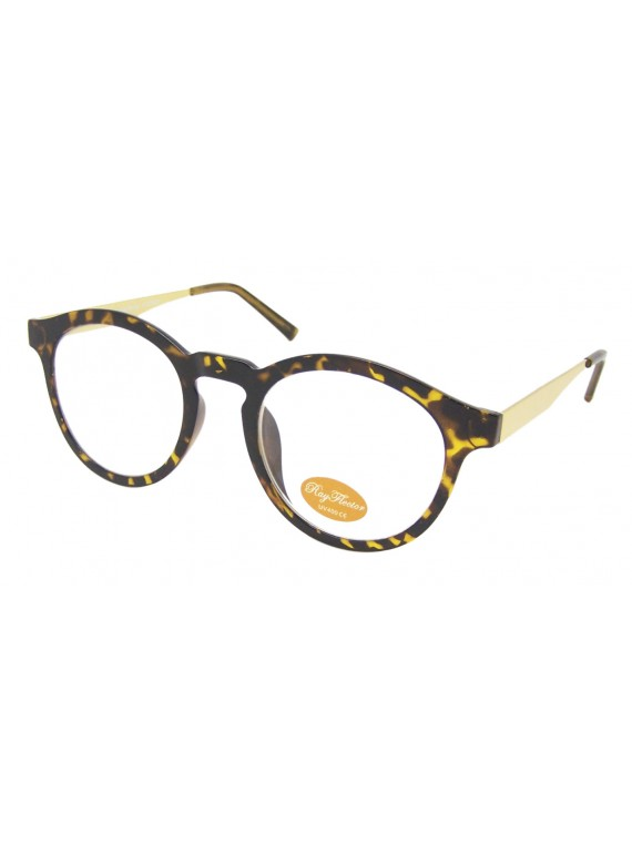 Geraz Vintage Look Sunglasses With Metal Arms, Black And Demi Clear Lens Asst