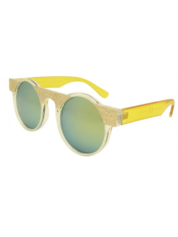 Cockpit Style Metal Frame Round Sunglasses, Mirrored Lens Asst