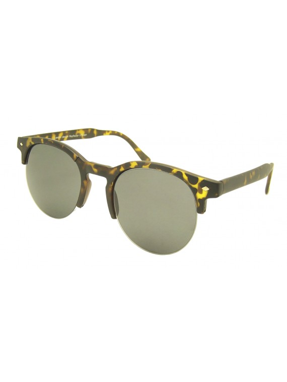 Rimless Bottom Clubmaster Sunglasses, Normal Lens Asst
