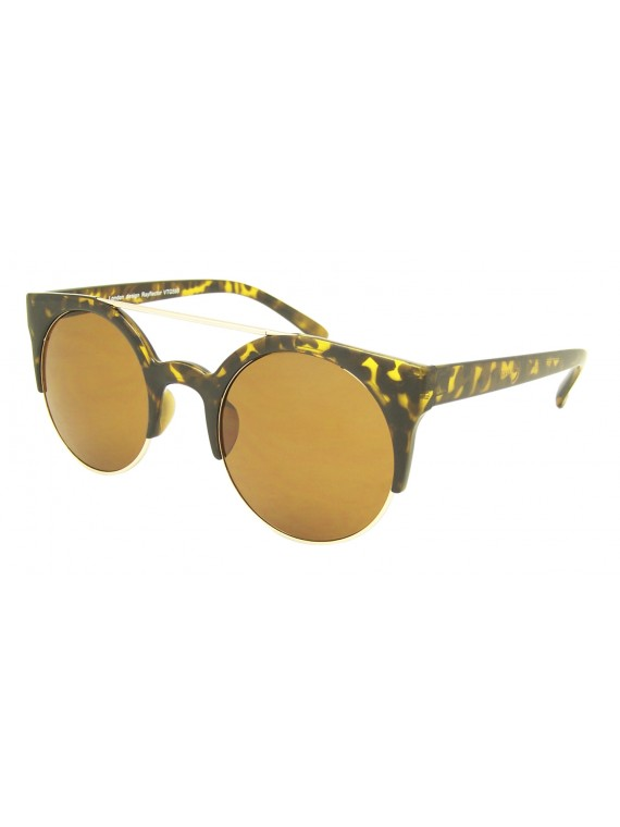 Leema Round Lens With Metal Vintage Sunglasses, Asst