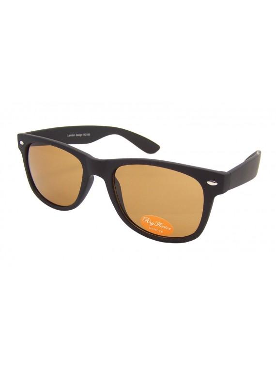 Classic Modern Wayfarer Style Sunglasses, Rubber Matt Brown(Whole Brown Lens)