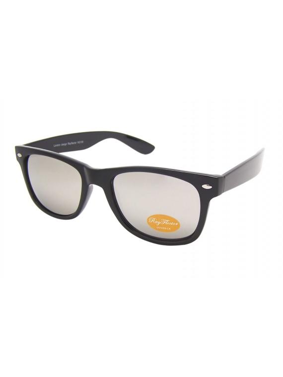 Classic Modern Wayfarer Style Sunglasses, Silver Mirrored Lens Asst
