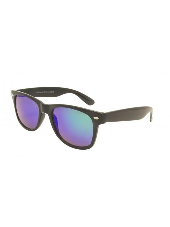 Classic Modern Wayfarer Style Sunglasses, Mirrored Lens Asst