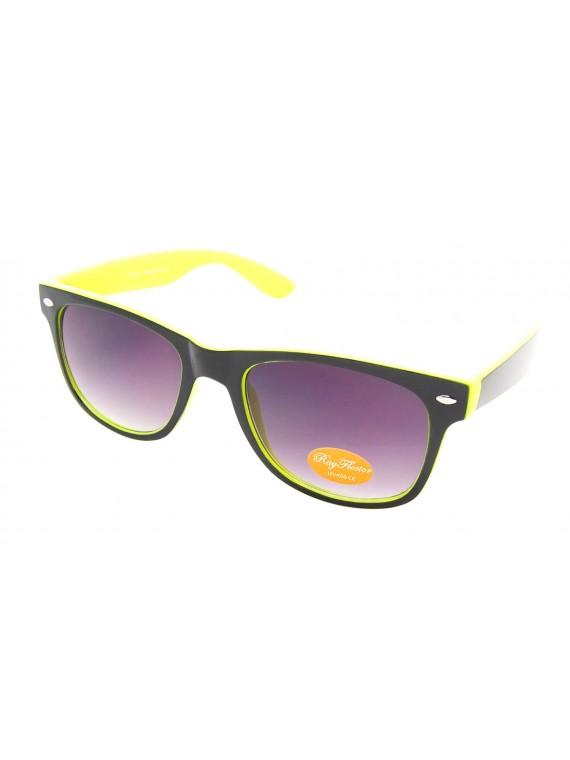 Classic Modern Wayfarer Style Sunglasses, Solid Two Tone Black Inner Frame Asst