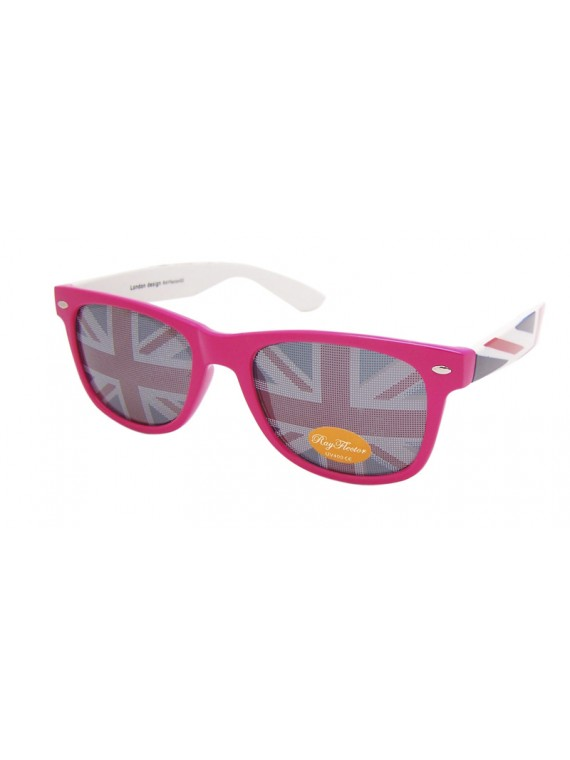 Classic Modern Wayfarer Style Sunglasses, British Flag Lens Colorful Frame Asst