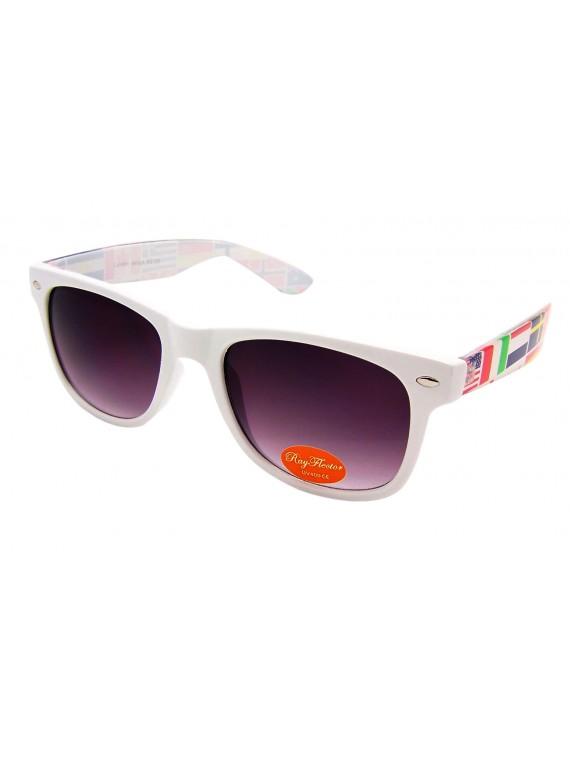 Classic Modern Wayfarer Sunglasses, World Map Arm Asst