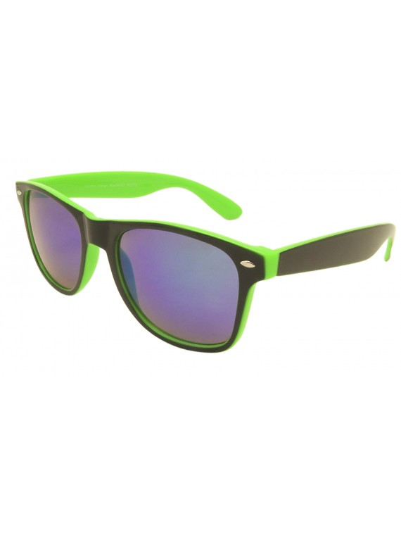 Theo Classic  Double Color Wayfarer Sunglasses, Mirrored Lens Asst