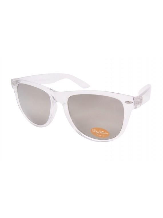 Classic Wayfarer Style Sunglasses, Silver Mirrored Lens Asst