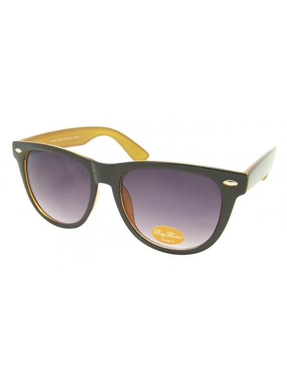 Classic Wayfarer Style Sunglasses, Two Tones Colors Asst - Bigger Size
