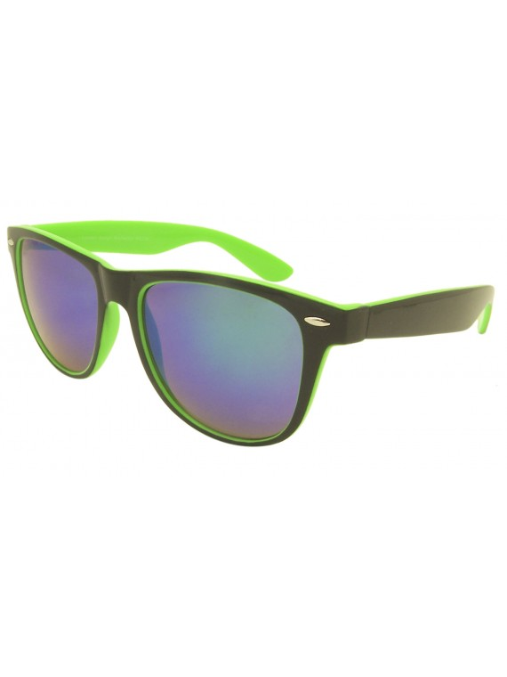 Classic Wayfarer Style Sunglasses, 2 Tones Mirrored Lens Asst