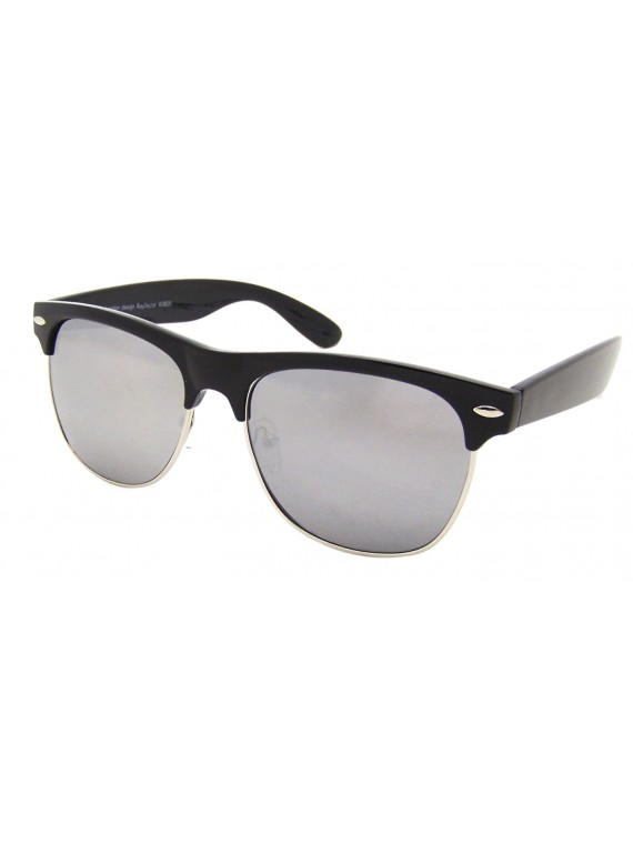 Biona Classic Clubmaster Sunglasses, Mirrored Lens Asst