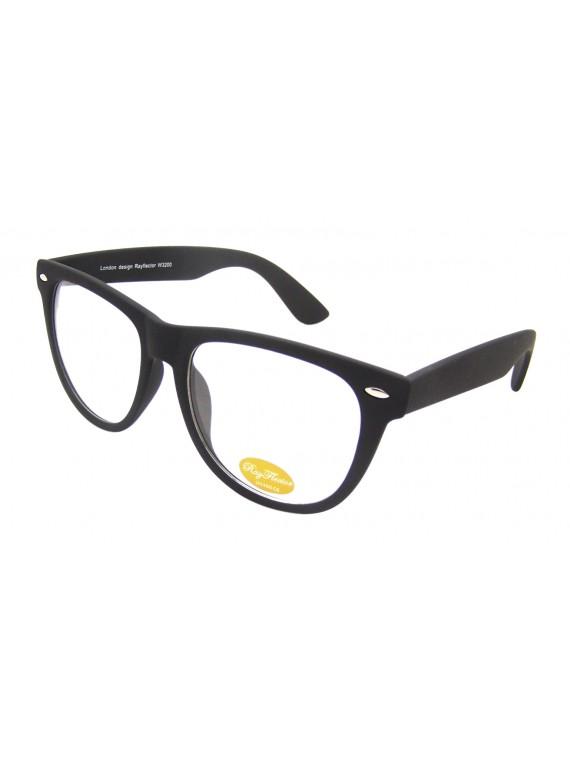 Classic Wayfarer Style Sunglasses, Rubber Matt Black Clear Lens
