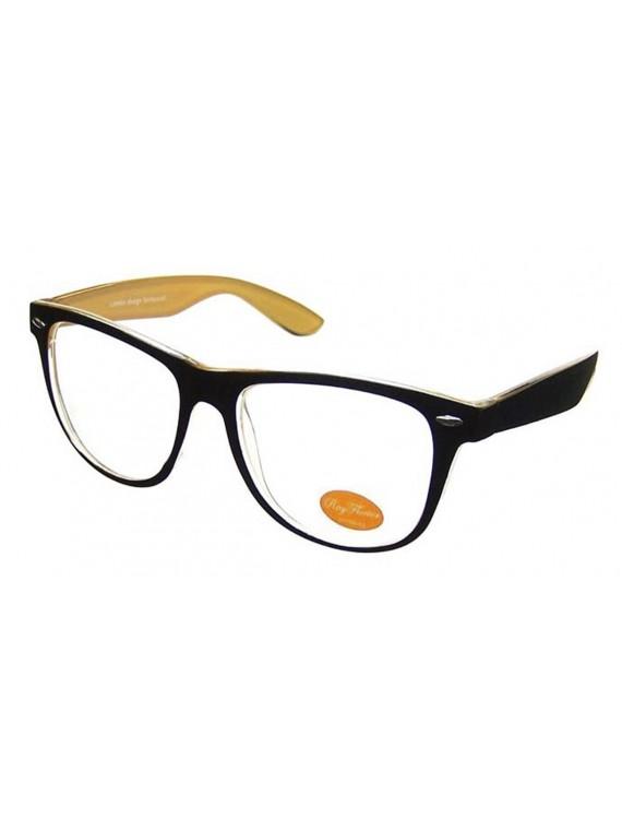 Classic Wayfarer Style Sunglasses, Outer Frame Black Clear Lens Asst
