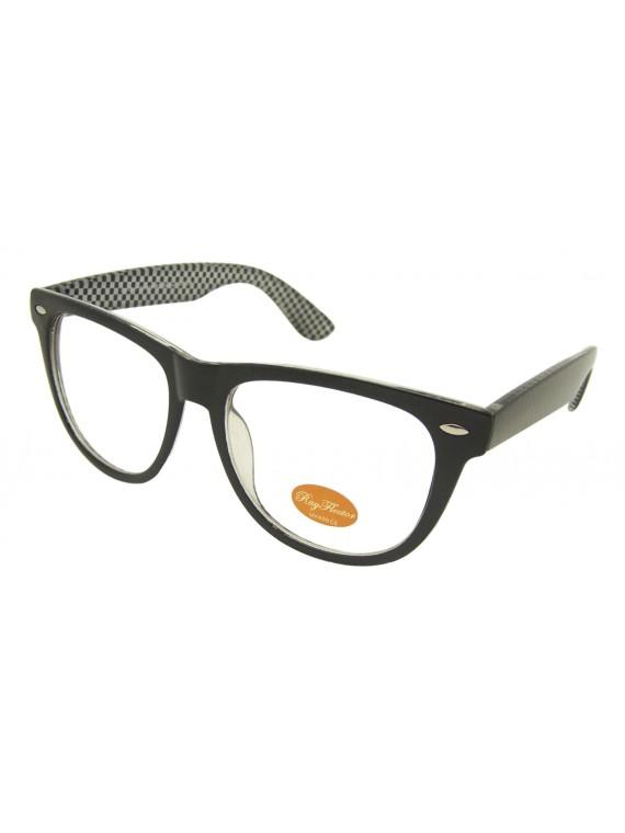Classic Wayfarer Style Sunglasses, Black Checkered Clear Lens - Bigger Size