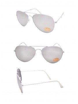 Classic Aviator Sunglasses Silver, White tips