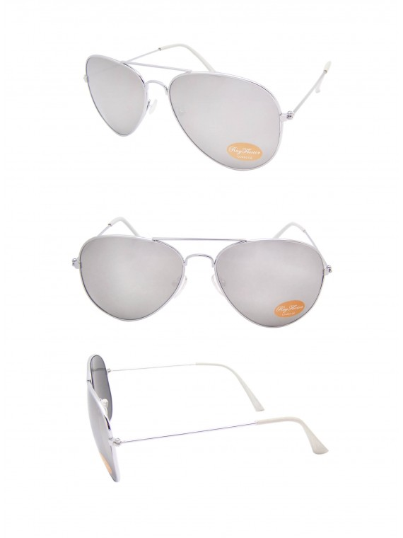 Classic Aviator Sunglasses Silver, White tips