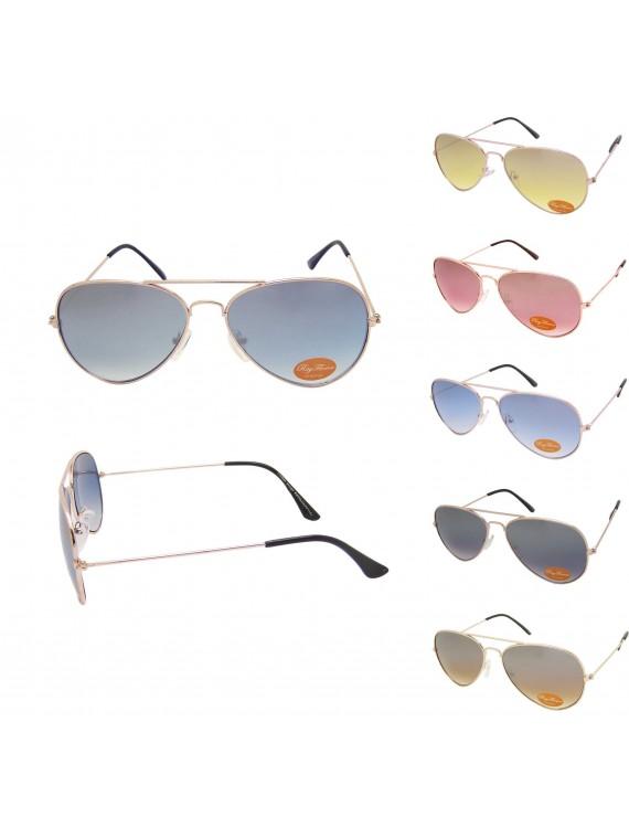 Mild Flash Coloured Lenses Metal Frame Aviator Sunglasses, Asst ( Medium Size)