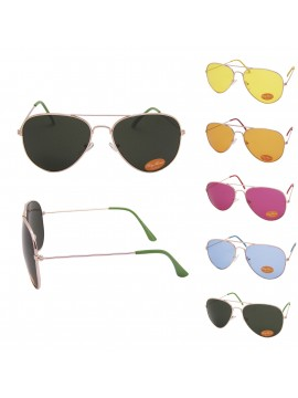 Colored Lens Classic Aviator Sunglasses , Asst