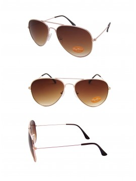 Classic Aviator Sunglasses Gold Frame Brown lens, Medium Size