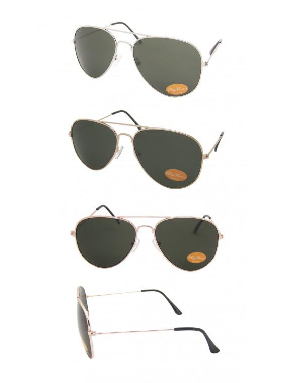 Green Lens, Gold/Silver Frame Aviator Sunglasses, Medium Size Asst
