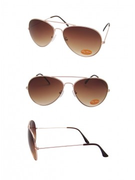 Brown Lens Gold Frame Classic Aviator Sunglasses, 1 Color