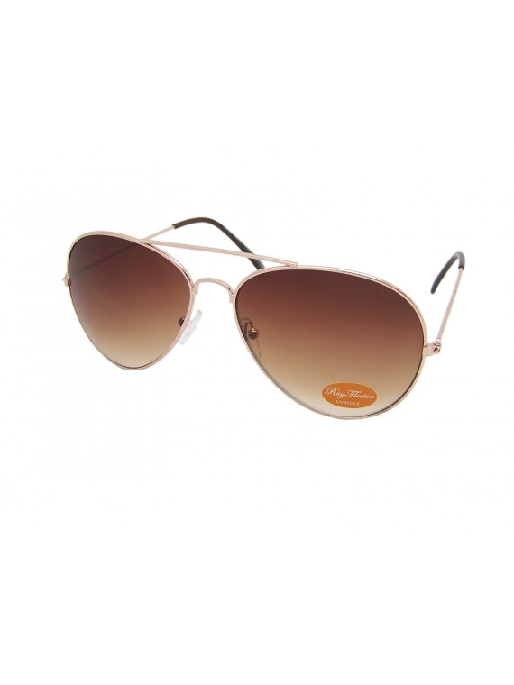 Brown Lens Gold Frame Classic Aviator Sunglasses, 1 Color