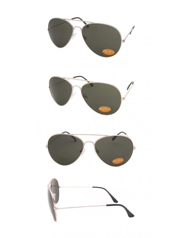 Green Lens, Gold/Silver Frame Aviator Sunglasses, Large Size Asst