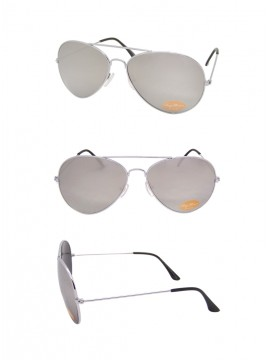 Silver Mirrored Lens, Silver Frame Aviator Sunglasses, Black  Tips