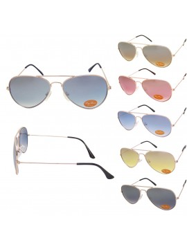 Slightly Flash Coloured Lens Aviator Sunglasses, Metal Frame Asst(Big size)