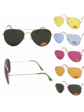 Dixa Coloured Lens Aviator Sunglasses, 5 Colors Asst(Bigger Size)