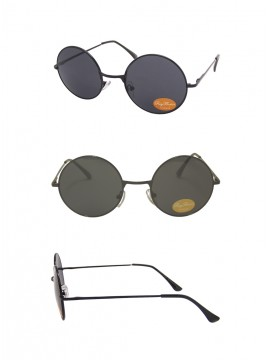 Bailen Round Black John Lennon Style Sunglasses, Smoked Lens