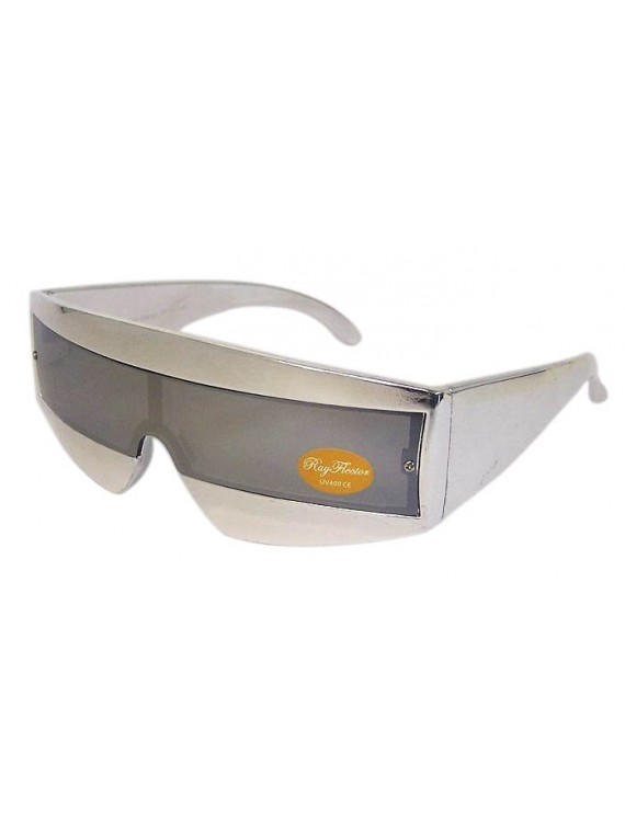 Robo Cop Wrap Around Sport Party Sunglasses, Silver