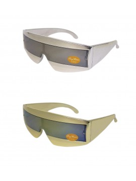 Robo Cop Wrap Around Sunglasses, Gold And Silvery Colors Asst