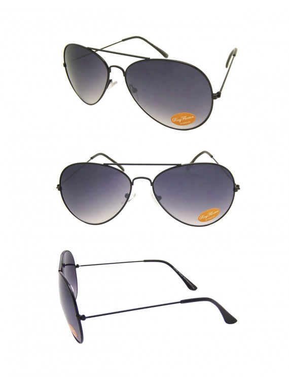 Noah Retro Aviator Sunglasses, Black Frame