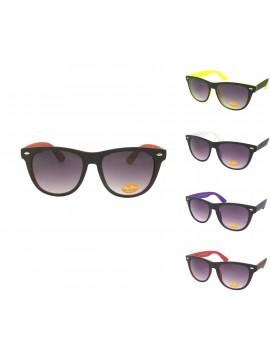 Classic Wayfarer Style Sunglasses, Two Tones Color Rubber Matt Asst