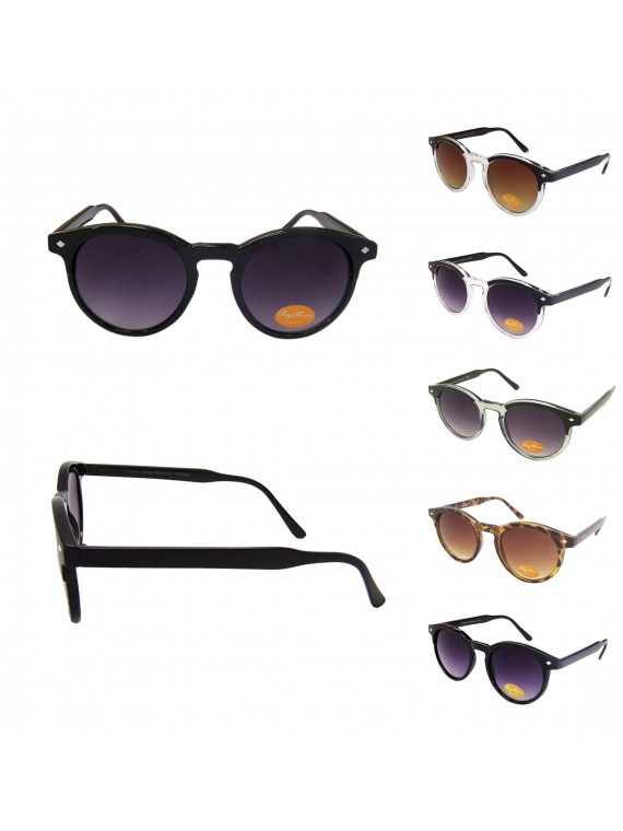 Hio Round Eyebrow Wayfarer Style Sunglasses, Asst