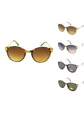 Rolina Retro Round Shape Sunglasses, Tinted Lens Asst