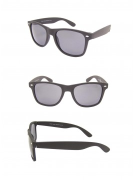 Medium Size Wayfarer Style Sunglasses, Rubber Matt Black(Whole Black Lens)