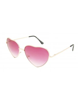 Classic Heart Shape Metal Frame Sunglasses, Red Gradient
