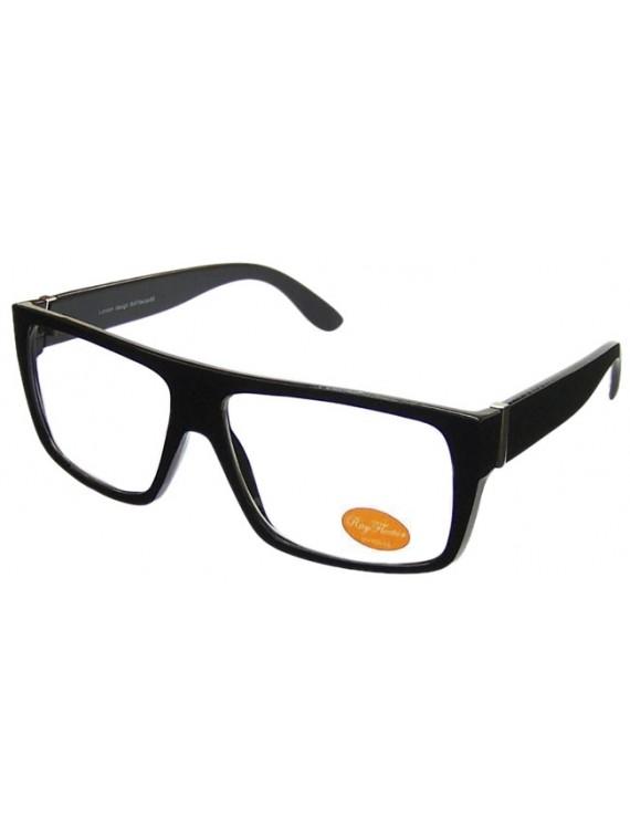 Klov Straight Flat Top Square Aviator Sunglasses, Shiny Black Clear Lens