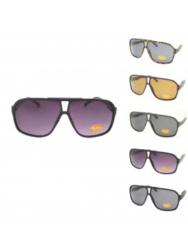 Aldea Flat top Plastic Aviator Sunglasses, 5 Colors Asst
