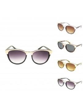 Eilee Metal Eyebrow Plastic Wayfarer Style Sunglasses, Asst
