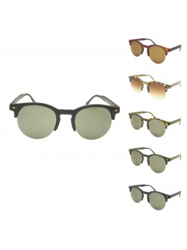 Rimless Bottom Clubmaster Sunglasses, Normal Lens Asst